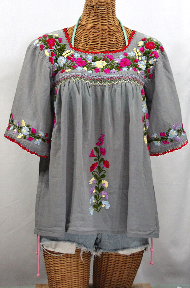 """""""La Marina"""" Embroidered Mexican Peasant Blouse -Grey + Multi Embroidery"""