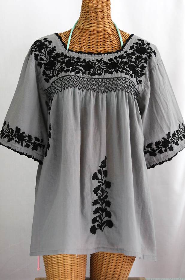 """""""La Marina"""" Embroidered Mexican Blouse - Grey + Black Embroidery"""