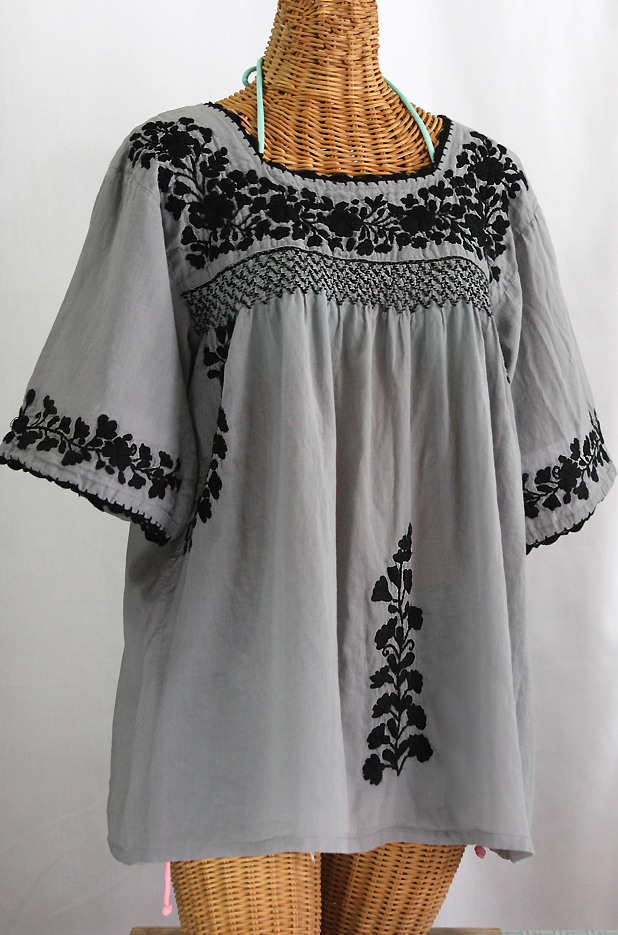 La Marina Embroidered Mexican Blouse Grey Black Embroidery