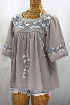 """""""La Marina"""" Embroidered Mexican Style Peasant Top -Shades of Grey"""