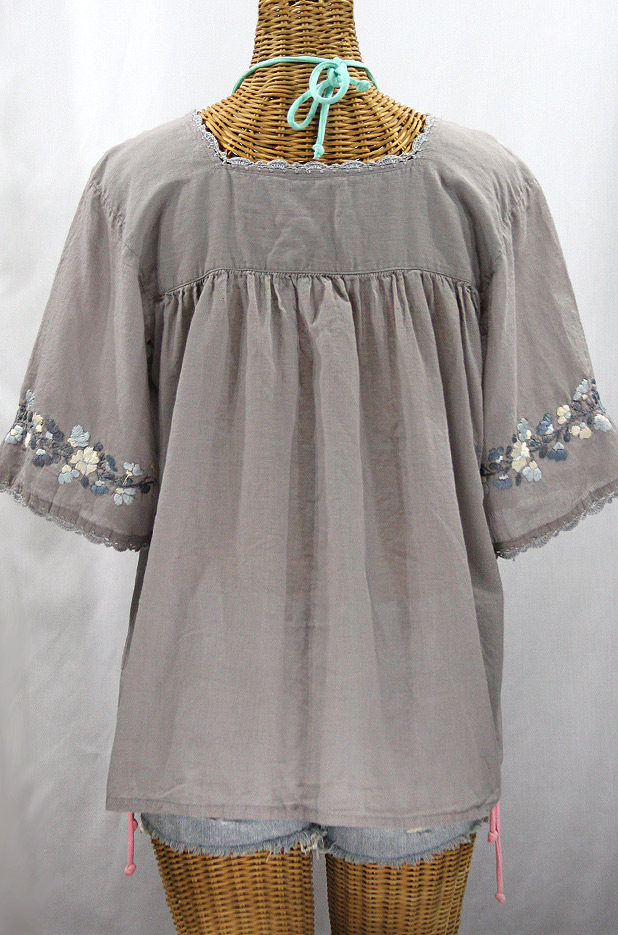 """La Marina"" Embroidered Mexican Style Peasant Top -Shades of Grey"