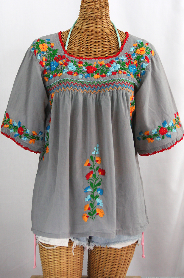 """""""La Marina"""" Embroidered Mexican Peasant Blouse -Grey + Fiesta Embroidery"""