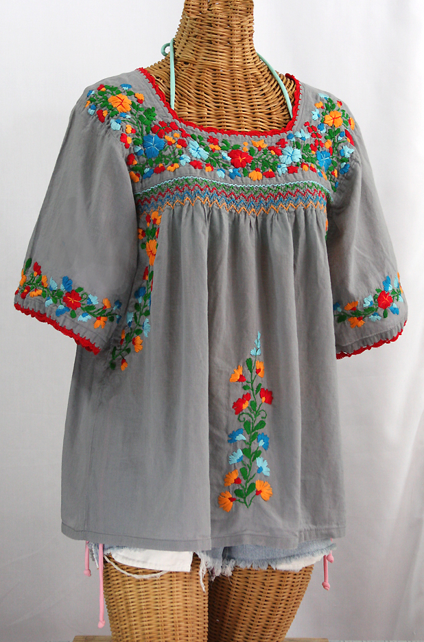 Quot la marina embroidered mexican peasant blouse grey