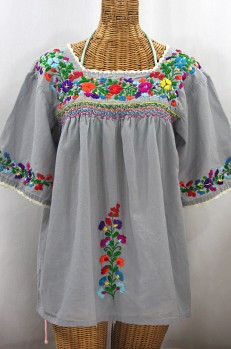 """""""La Marina"""" Embroidered Mexican Peasant Blouse - Grey + Rainbow Embroidery"""