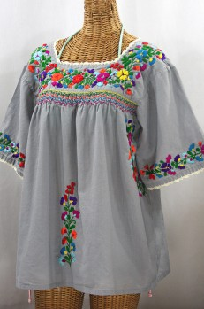 """La Marina"" Embroidered Mexican Peasant Blouse - Grey + Rainbow Embroidery"