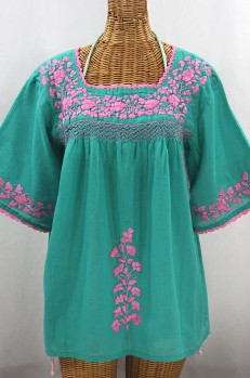 """""""La Marina"""" Embroidered Mexican Style Peasant Top - Mint + Pink"""