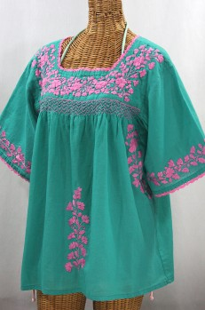 """La Marina"" Embroidered Mexican Style Peasant Top - Mint + Pink"