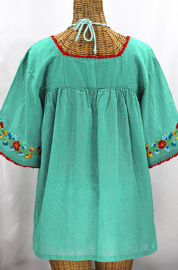 """""""La Marina"""" Embroidered Mexican Peasant Blouse -Mint Green + Fiesta Embroidery"""