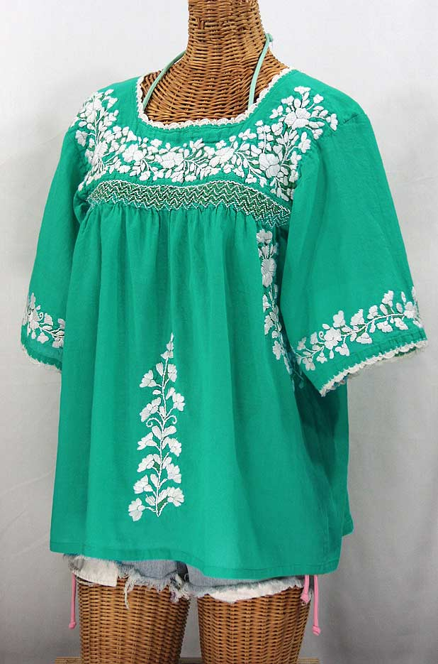 """""""La Marina"""" Embroidered Mexican Blouse - Mint Green + White Embroidery"""