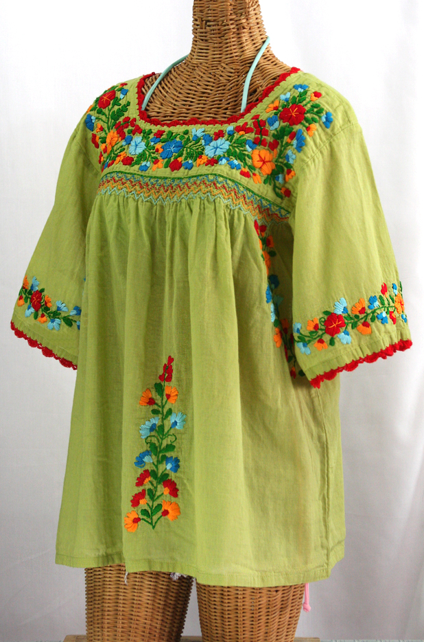 """La Marina"" Embroidered Mexican Peasant Blouse -Moss Green + Fiesta"