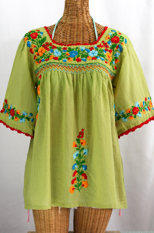 """""""La Marina"""" Embroidered Mexican Peasant Blouse -Moss Green + Fiesta"""
