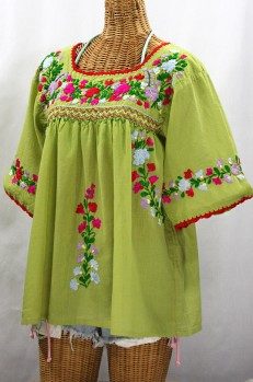 """""""La Marina"""" Embroidered Mexican Peasant Blouse -Moss Green + Multi"""