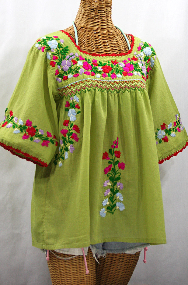 """La Marina"" Embroidered Mexican Peasant Blouse -Moss Green + Multi"