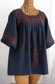"""La Marina"" Embroidered Mexican Blouse - Navy + Brown Embroidery"