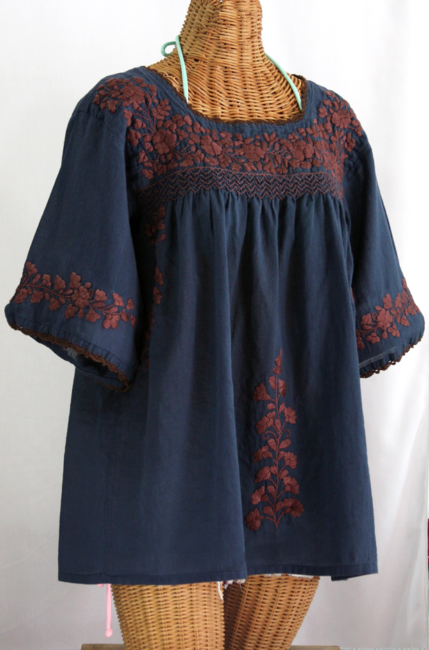 """""""La Marina"""" Embroidered Mexican Blouse - Navy + Brown Embroidery"""