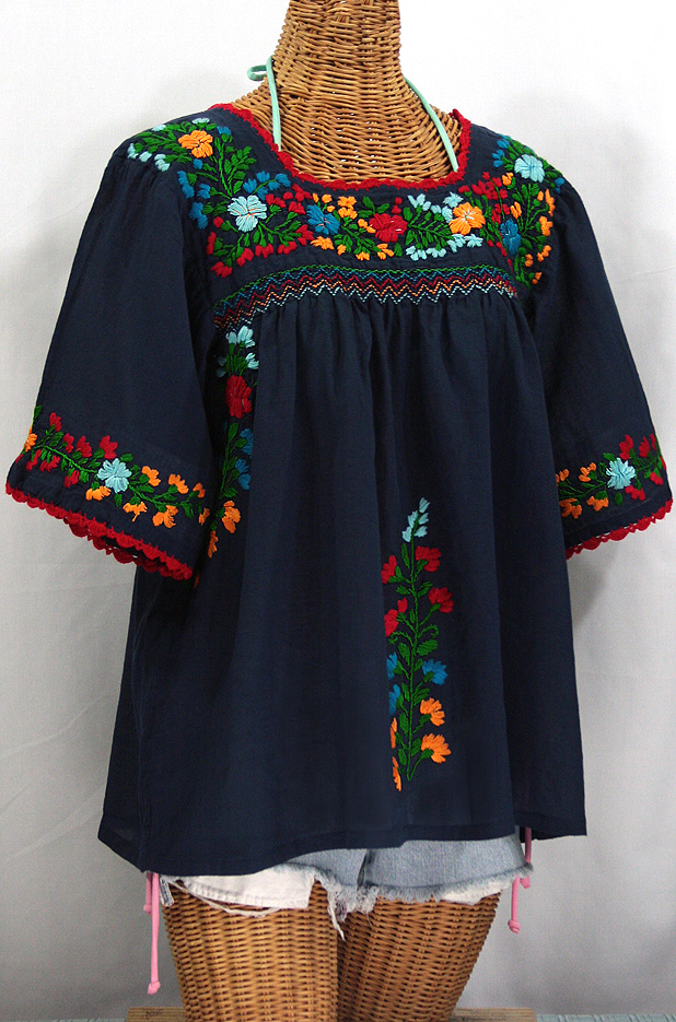 """""""La Marina"""" Embroidered Mexican Peasant Blouse -Navy + Fiesta"""