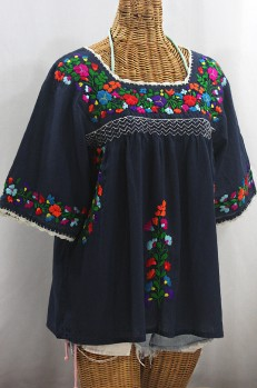 """La Marina"" Embroidered Mexican Peasant Blouse -Navy + Rainbow Embroidery"