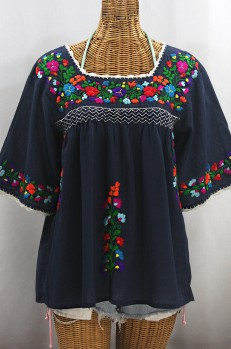 """""""La Marina"""" Embroidered Mexican Peasant Blouse -Navy + Rainbow Embroidery"""