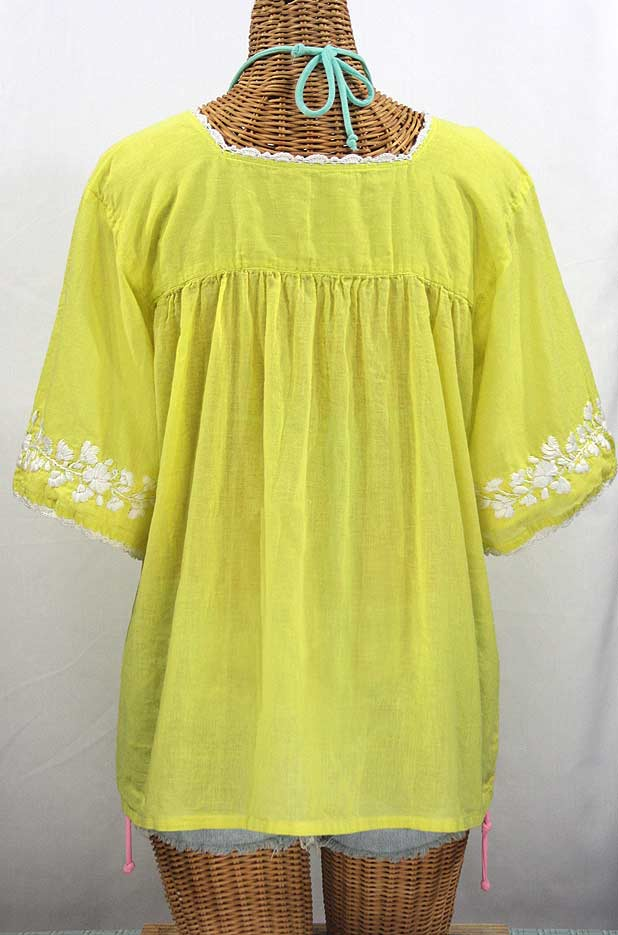 """La Marina"" Embroidered Mexican Peasant Blouse -Bright Lemon Yellow + White"