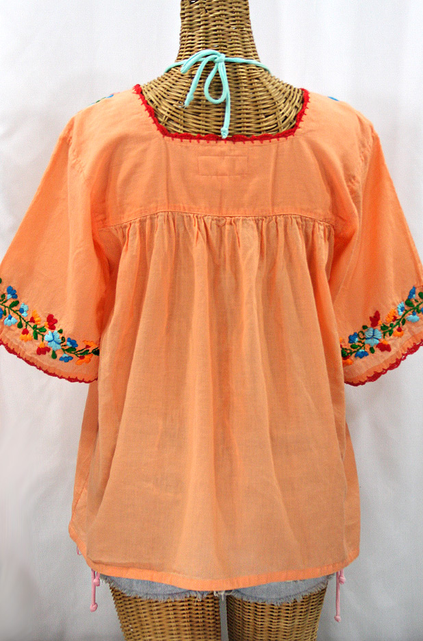 """La Marina"" Embroidered Mexican Peasant Blouse - Orange Cream + Fiesta"