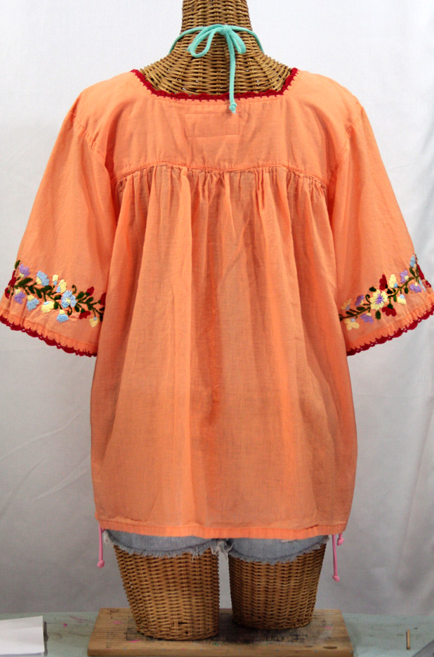 """La Marina"" Embroidered Mexican Peasant Blouse -Orange Cream + Multi"