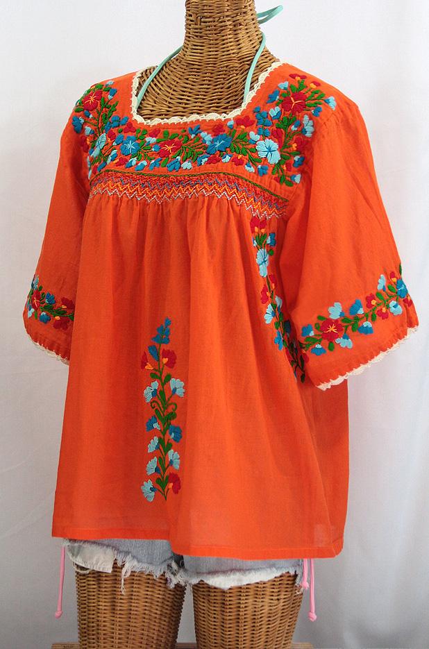 """""""La Marina"""" Embroidered Mexican Blouse -Orange + Fiesta"""