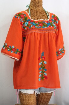 """La Marina"" Embroidered Mexican Blouse -Orange + Fiesta"