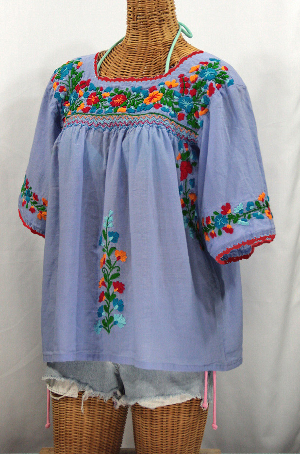 """""""La Marina"""" Embroidered Mexican Peasant Blouse -Periwinkle + Fiesta Embroidery"""