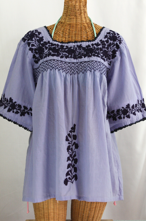 """La Marina"" Embroidered Mexican Blouse - Periwinkle + Navy Embroidery"