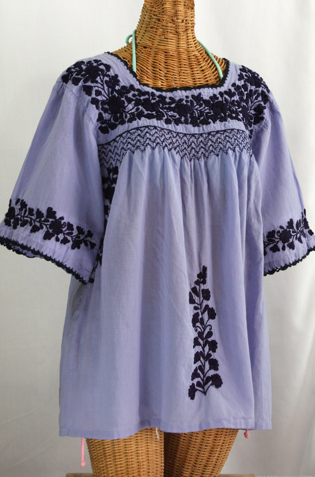 """""""La Marina"""" Embroidered Mexican Blouse - Periwinkle + Navy Embroidery"""