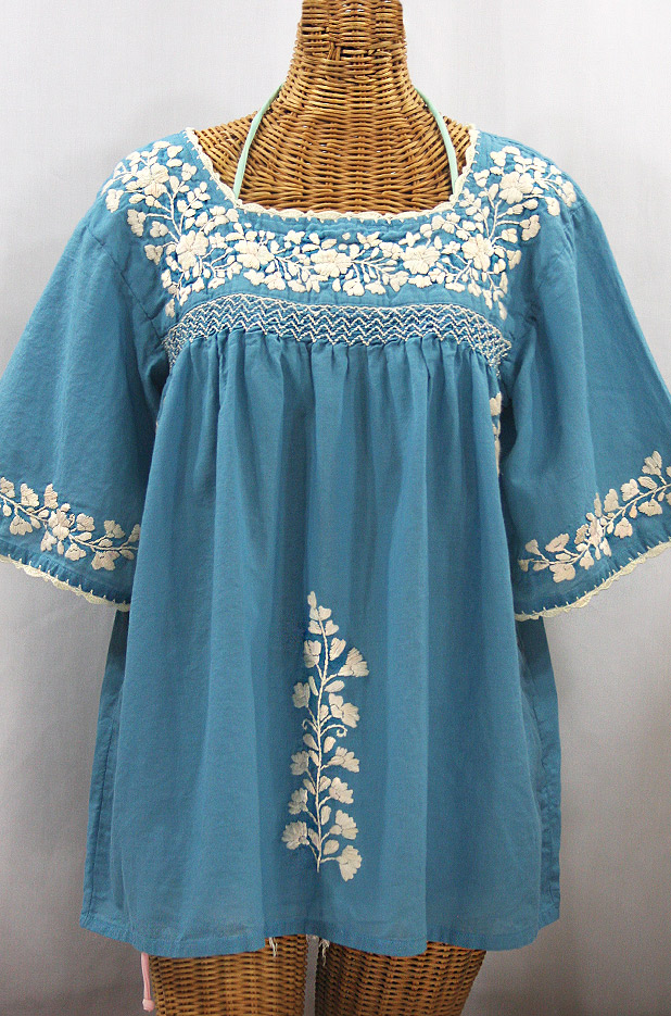 """La Marina"" Embroidered Mexican Peasant Blouse - Pool Blue + Cream Embroidery"
