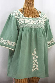 """La Marina"" Embroidered Mexican Peasant Blouse - Sage Green + Cream Embroidery"