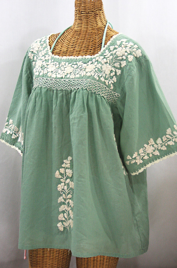 """""""La Marina"""" Embroidered Mexican Peasant Blouse - Sage Green + Cream Embroidery"""
