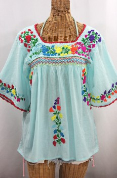 """""""La Marina"""" Embroidered Mexican Peasant Blouse - Pale Blue + Rainbow Embroidery"""