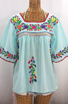 """La Marina"" Embroidered Mexican Peasant Blouse - Pale Blue + Rainbow Embroidery"