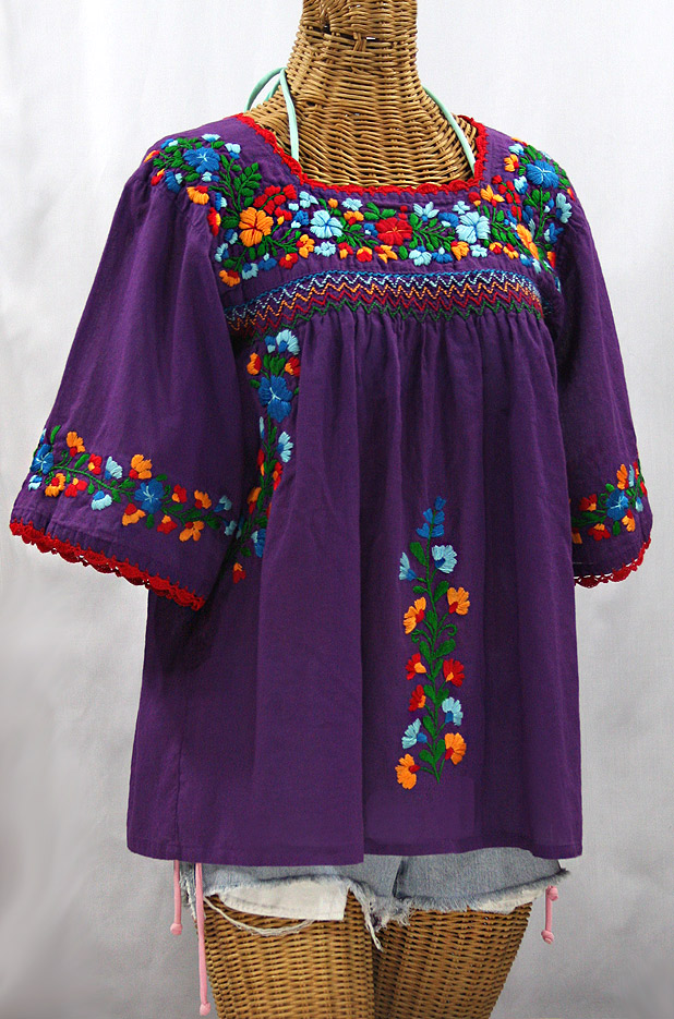 """La Marina"" Embroidered Mexican Peasant Blouse - Purple + Fiesta"