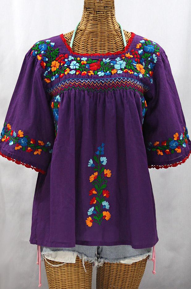 """La Marina"" Embroidered Mexican Peasant Blouse - Purple + Fiesta"
