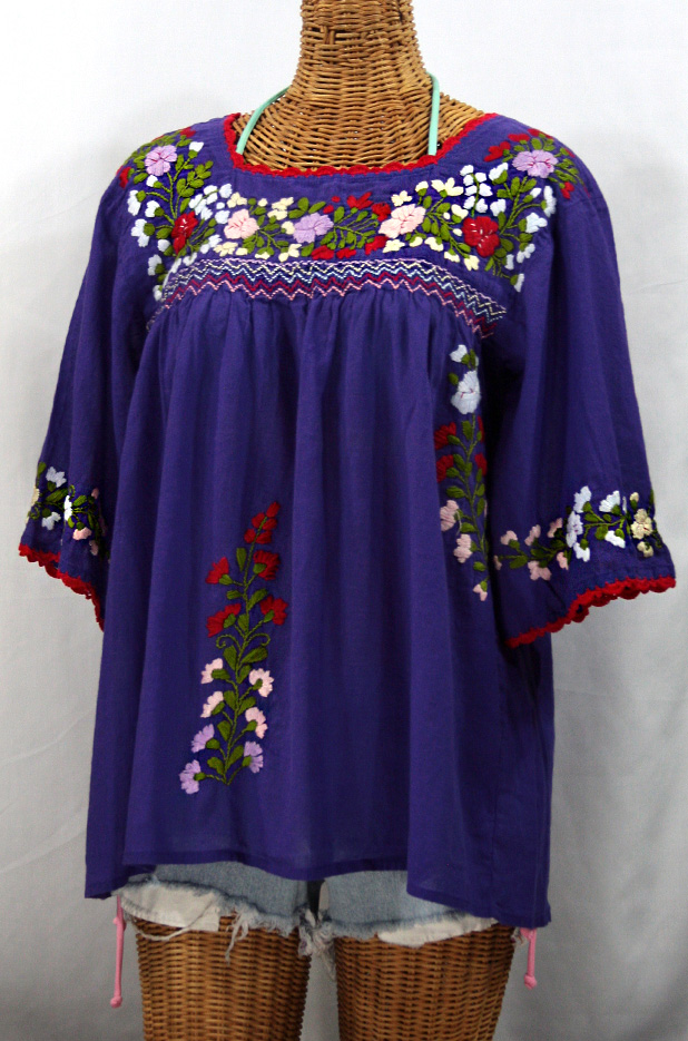 """La Marina"" Mexican Peasant Blouse -Purple + Red Trim"