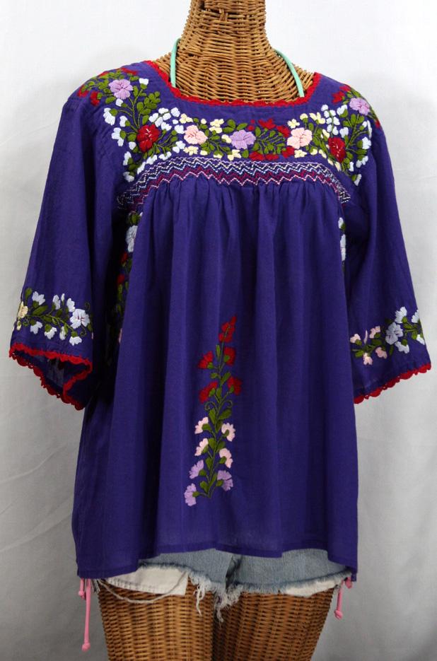 """La Marina"" Mexican Peasant Blouse -Purple + Red Trim"