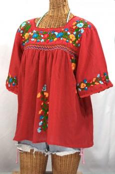 """La Marina"" Embroidered Mexican Peasant Blouse -Tomato Red + Fiesta Embroidery"