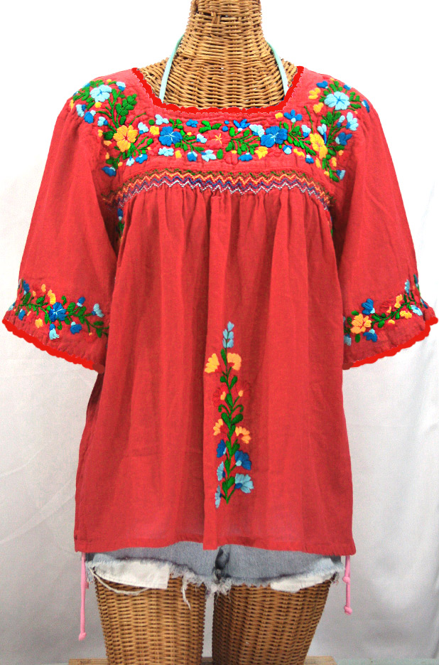 """La Marina"" Embroidered Mexican Peasant Blouse -Tomato Red + Fiesta Embroidery"
