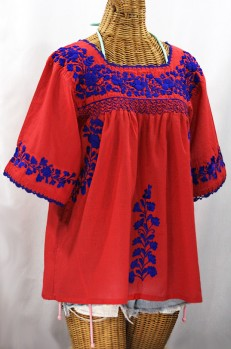 """""""La Marina"""" Embroidered Mexican Peasant Blouse - Tomato Red + Blue Embroidery"""