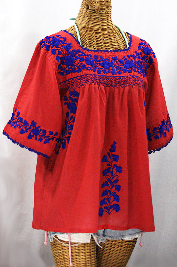 """La Marina"" Embroidered Mexican Peasant Blouse - Tomato Red + Blue Embroidery"