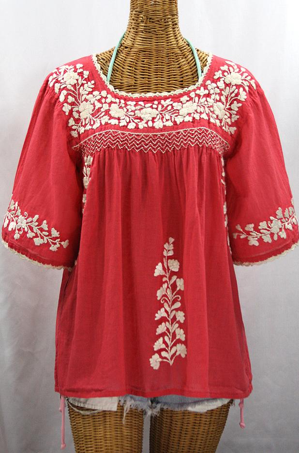 """La Marina"" Embroidered Mexican Peasant Blouse - Tomato Red + Cream Embroidery"