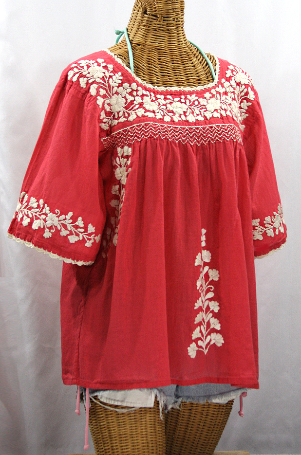 White Peasant Blouse Red Embroidery 95