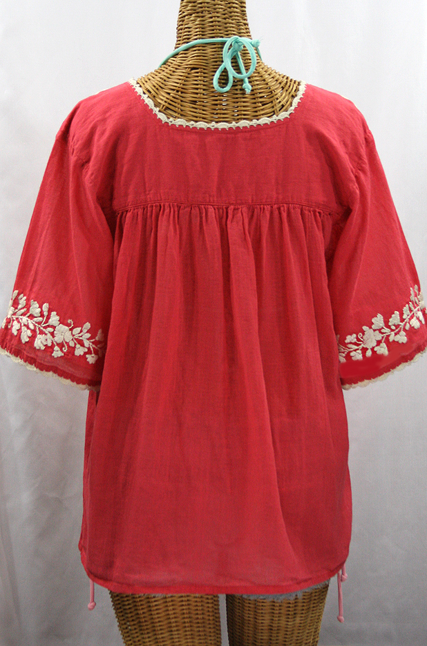 White Peasant Blouse Red Embroidery 63