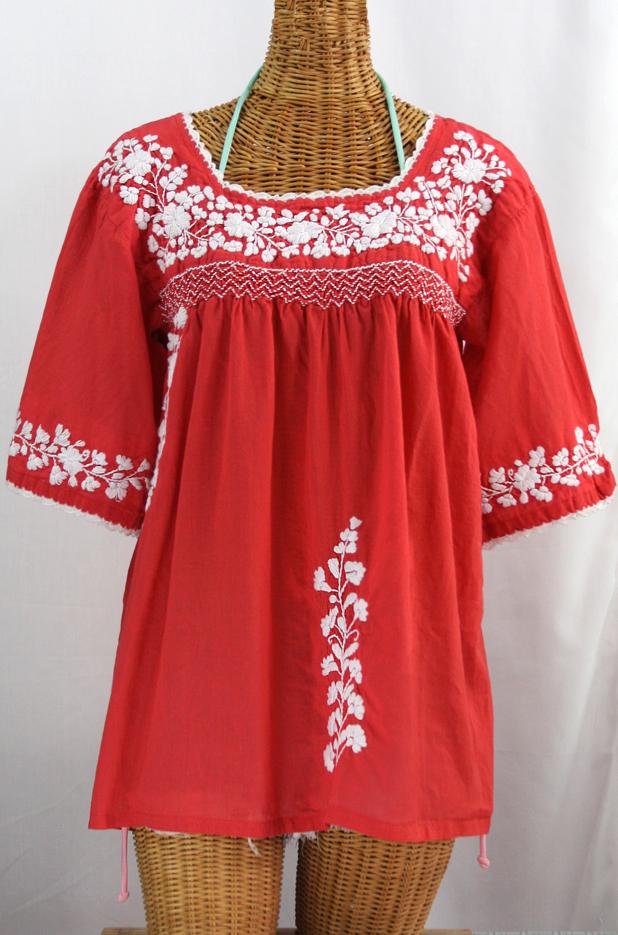"""La Marina"" Embroidered Mexican Blouse - Tomato Red + White Embroidery"