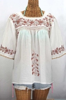 """La Marina"" Embroidered Mexican Peasant Blouse - White + Cocoa-Tone Embroidery"