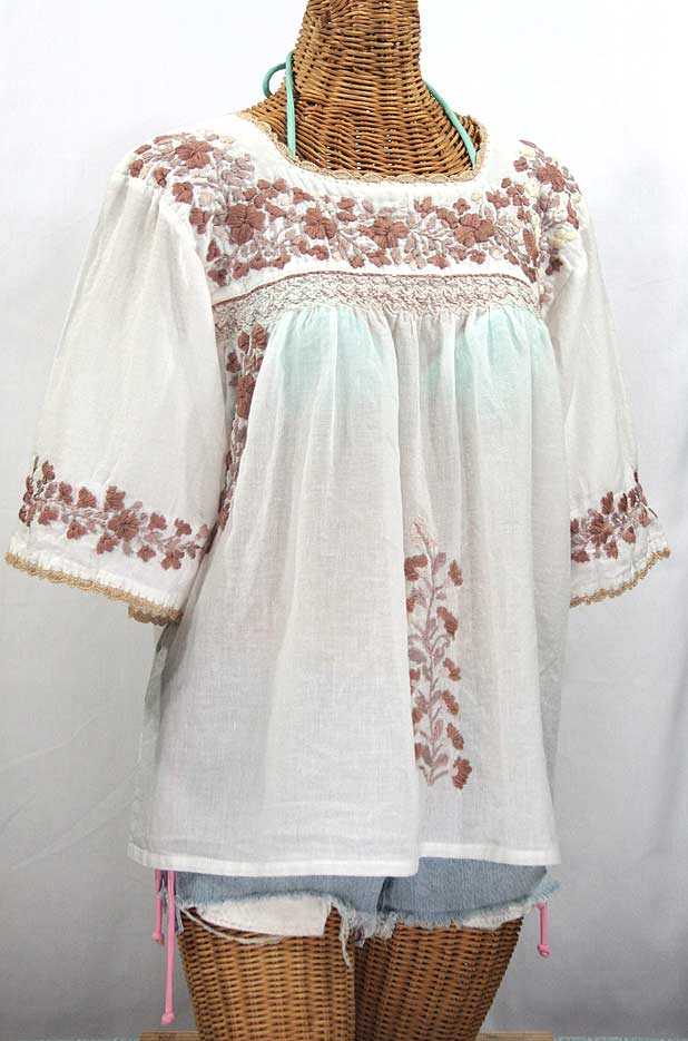"""La Marina"" Embroidered Mexican Peasant Blouse - White + Cocoa-Tone Embroidery"