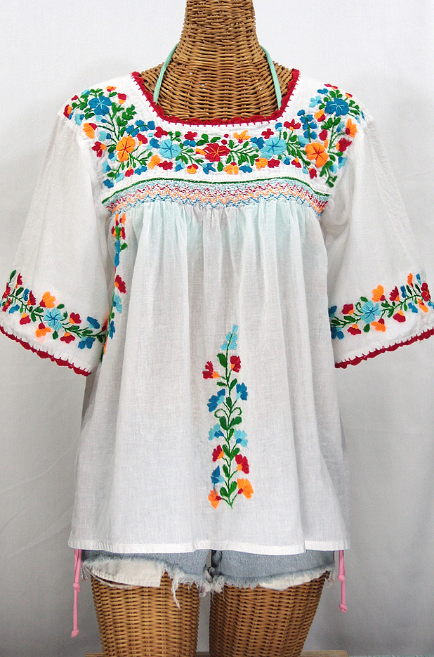 """La Marina"" Embroidered Mexican Blouse -White + Fiesta Embroidery"